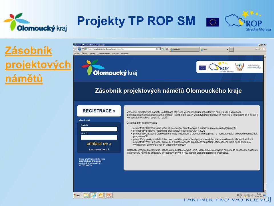 Projekty TP ROP SM Zásobník projektových námětů