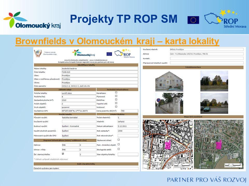 Projekty TP ROP SM Brownfields v Olomouckém kraji – karta lokality