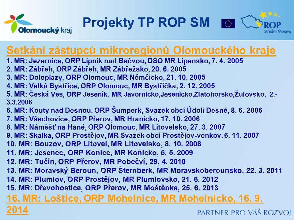 Projekty TP ROP SM Setkání zástupců mikroregionů Olomouckého kraje 1. MR: Jezernice, ORP Lipník nad Bečvou, DSO MR Lipensko, 7. 4. 2005 2. MR: Zábřeh,