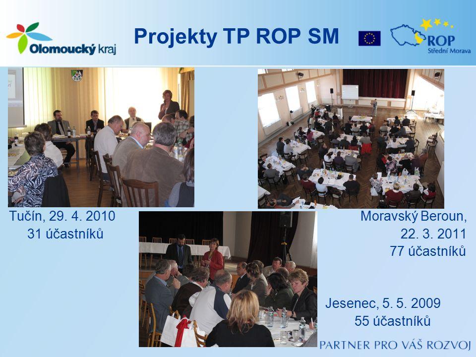 Projekty TP ROP SM Tučín, 29. 4. 2010 Moravský Beroun, 31 účastníků 22. 3. 2011 77 účastníků Jesenec, 5. 5. 2009 55 účastníků