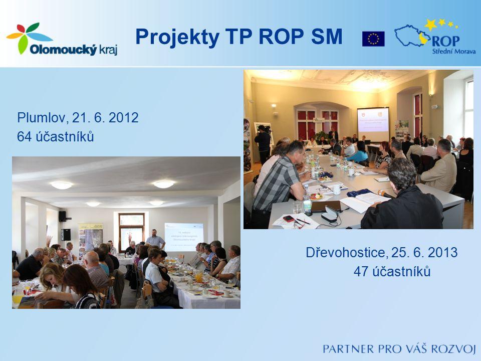 Projekty TP ROP SM Plumlov, 21. 6. 2012 64 účastníků Dřevohostice, 25. 6. 2013 47 účastníků