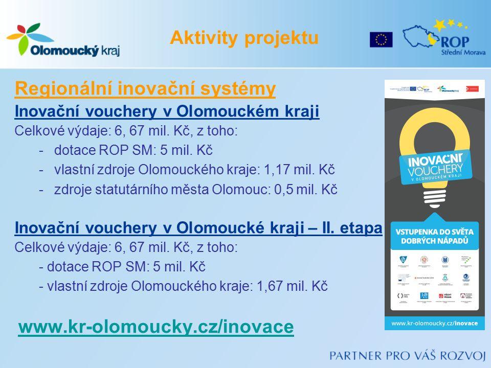 Regionální inovační systémy Inovační vouchery v Olomouckém kraji Celkové výdaje: 6, 67 mil. Kč, z toho: -dotace ROP SM: 5 mil. Kč -vlastní zdroje Olom