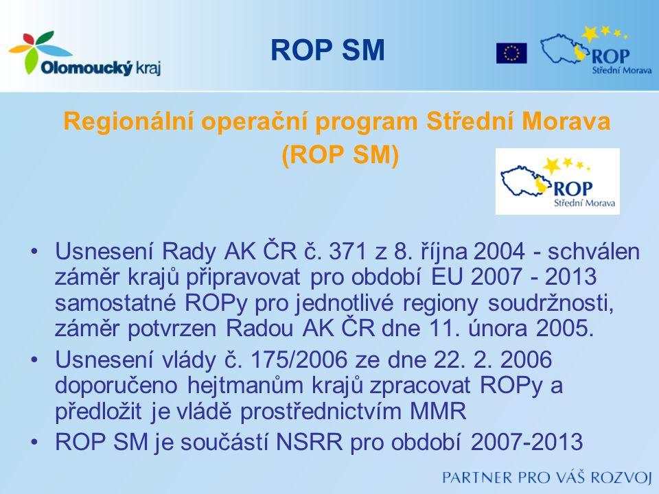 ROP SM Regionální operační program Střední Morava (ROP SM) Usnesení Rady AK ČR č. 371 z 8. října 2004 - schválen záměr krajů připravovat pro období EU