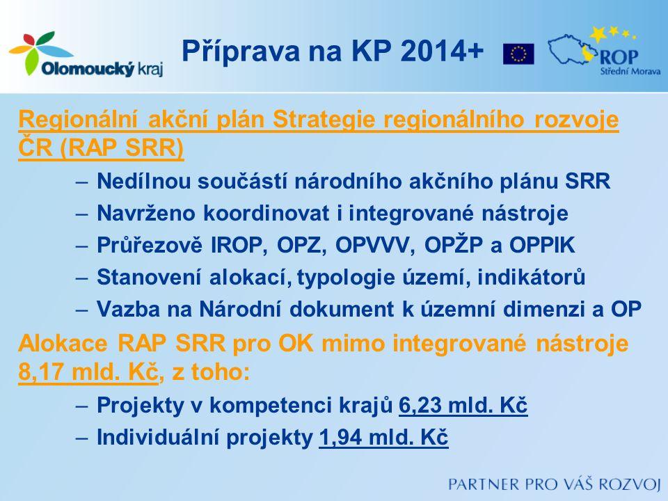 Příprava na KP 2014+ Regionální akční plán Strategie regionálního rozvoje ČR (RAP SRR) –Nedílnou součástí národního akčního plánu SRR –Navrženo koordi