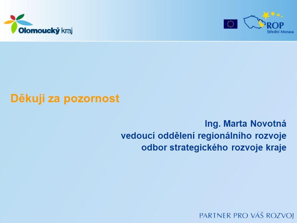 Děkuji za pozornost Ing. Marta Novotná vedoucí oddělení regionálního rozvoje odbor strategického rozvoje kraje