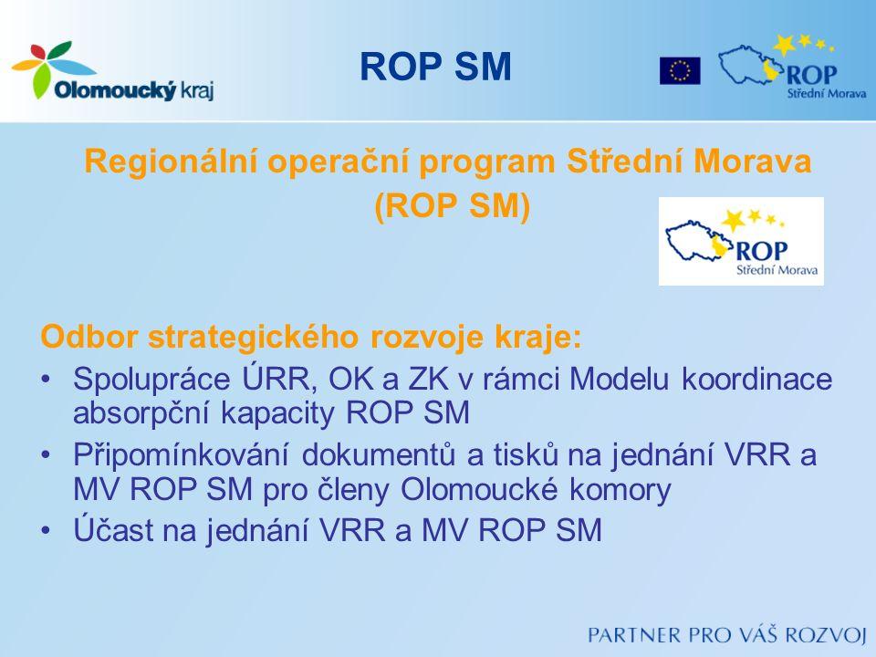ROP SM Regionální operační program Střední Morava (ROP SM) Odbor strategického rozvoje kraje: Spolupráce ÚRR, OK a ZK v rámci Modelu koordinace absorp