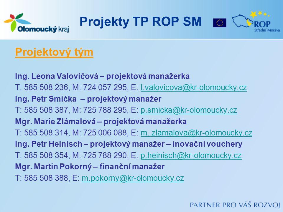 Projekty TP ROP SM Projektový tým Ing. Leona Valovičová – projektová manažerka T: 585 508 236, M: 724 057 295, E: l.valovicova@kr-olomoucky.czl.valovi