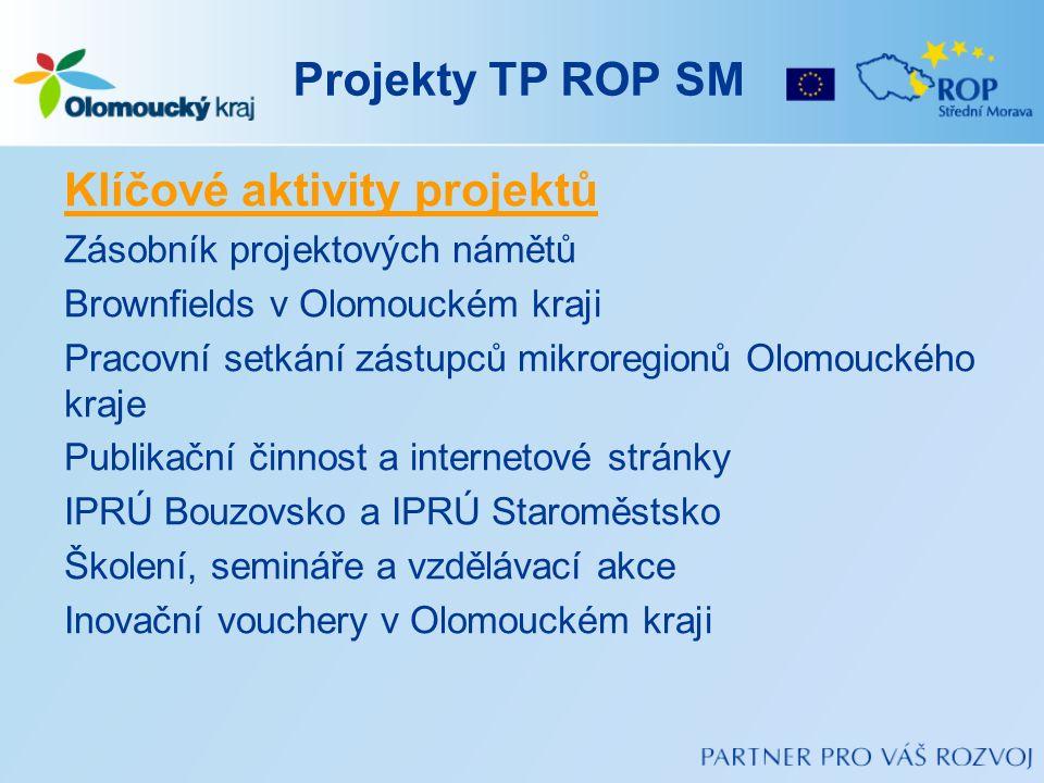 Projekty TP ROP SM Klíčové aktivity projektů Zásobník projektových námětů Brownfields v Olomouckém kraji Pracovní setkání zástupců mikroregionů Olomou