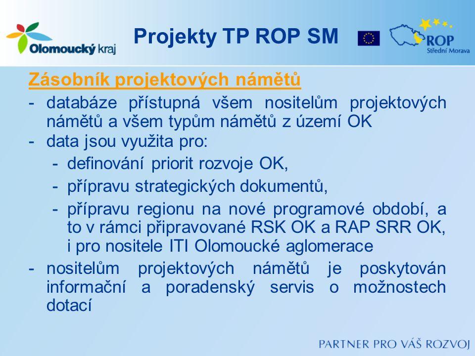 Projekty TP ROP SM Zásobník projektových námětů -databáze přístupná všem nositelům projektových námětů a všem typům námětů z území OK -data jsou využi