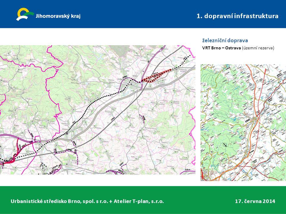 Urbanistické středisko Brno, spol. s r.o. + Atelier T-plan, s.r.o.17. června 2014 1. dopravní infrastruktura železniční doprava VRT Brno – Ostrava (úz