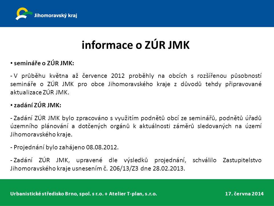 Urbanistické středisko Brno, spol. s r.o. + Atelier T-plan, s.r.o.17. června 2014 informace o ZÚR JMK semináře o ZÚR JMK: - V průběhu května až červen