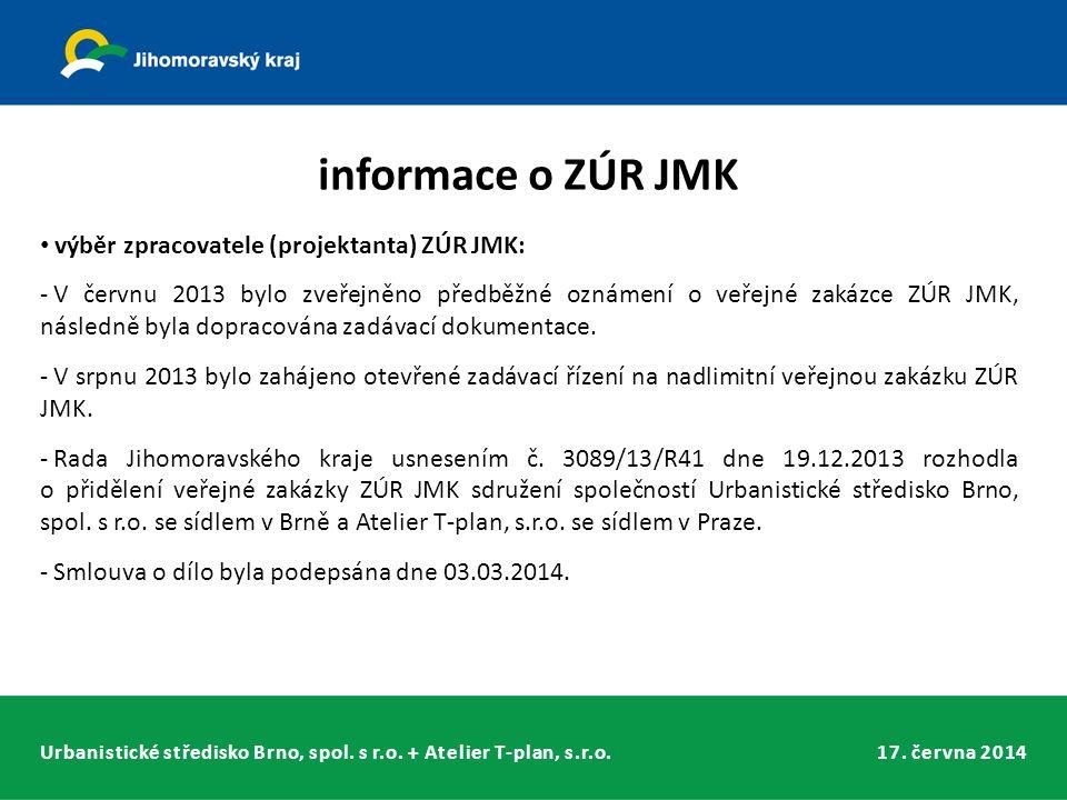 Urbanistické středisko Brno, spol. s r.o. + Atelier T-plan, s.r.o.17. června 2014 informace o ZÚR JMK výběr zpracovatele (projektanta) ZÚR JMK: - V če