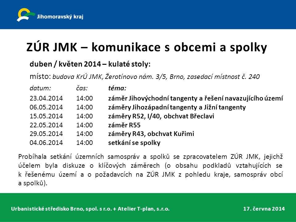 Urbanistické středisko Brno, spol. s r.o. + Atelier T-plan, s.r.o.17. června 2014 ZÚR JMK – komunikace s obcemi a spolky duben / květen 2014 – kulaté