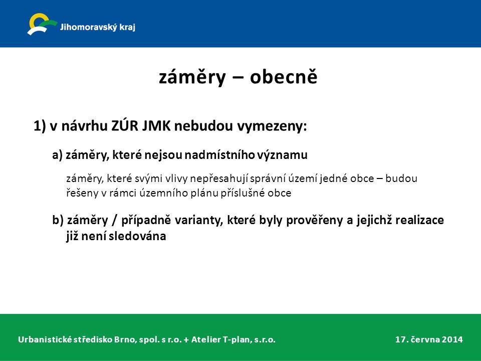 Urbanistické středisko Brno, spol. s r.o. + Atelier T-plan, s.r.o.17. června 2014 1) v návrhu ZÚR JMK nebudou vymezeny: a) záměry, které nejsou nadmís