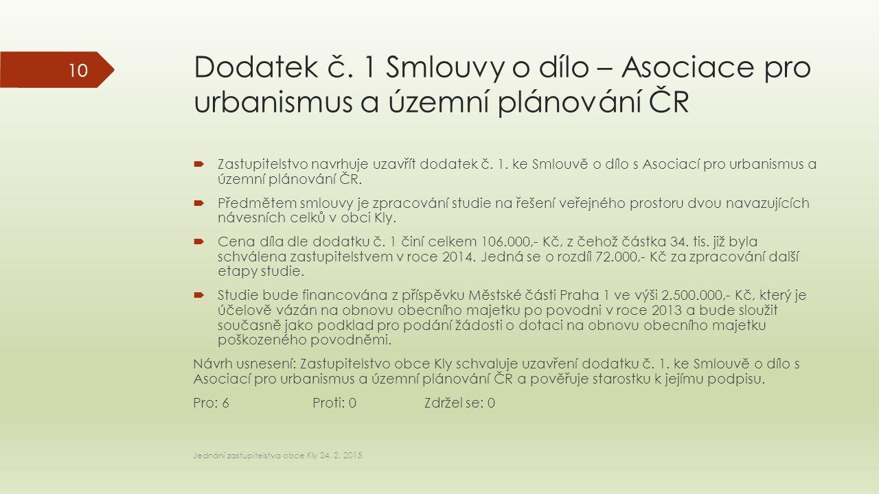 Dodatek č. 1 Smlouvy o dílo – Asociace pro urbanismus a územní plánování ČR  Zastupitelstvo navrhuje uzavřít dodatek č. 1. ke Smlouvě o dílo s Asocia