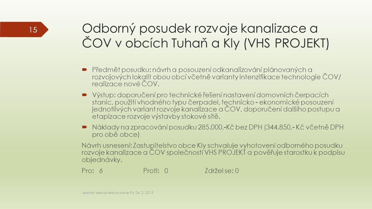 Odborný posudek rozvoje kanalizace a ČOV v obcích Tuhaň a Kly (VHS PROJEKT)  Předmět posudku: návrh a posouzení odkanalizování plánovaných a rozvojov