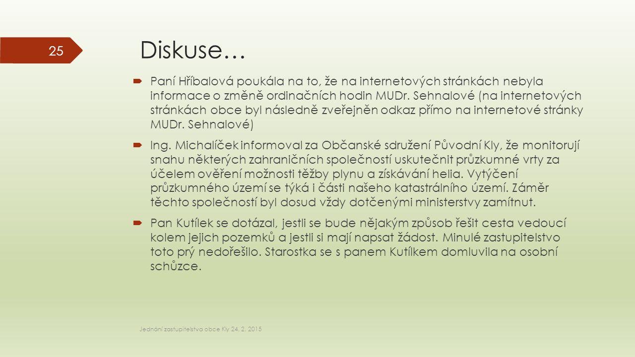 Diskuse…  Paní Hříbalová poukála na to, že na internetových stránkách nebyla informace o změně ordinačních hodin MUDr. Sehnalové (na internetových st