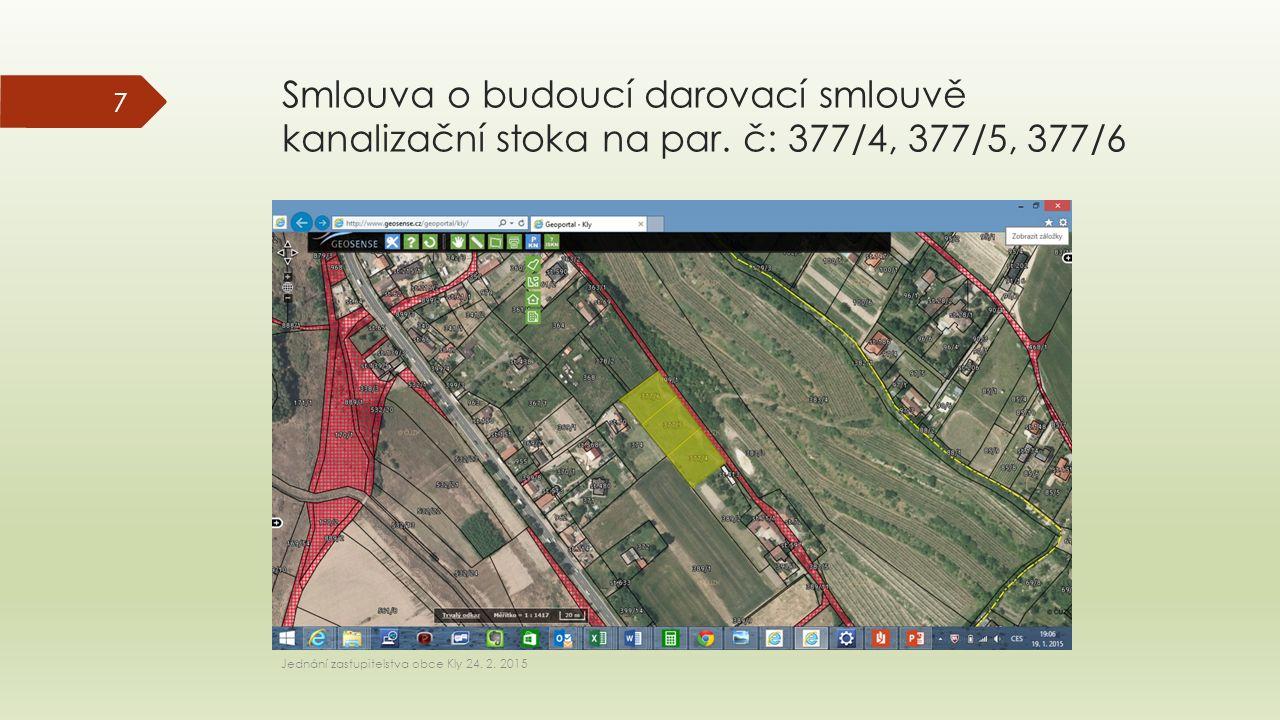 Smlouva o budoucí darovací smlouvě kanalizační stoka na par. č: 377/4, 377/5, 377/6 Jednání zastupitelstva obce Kly 24. 2. 2015 7