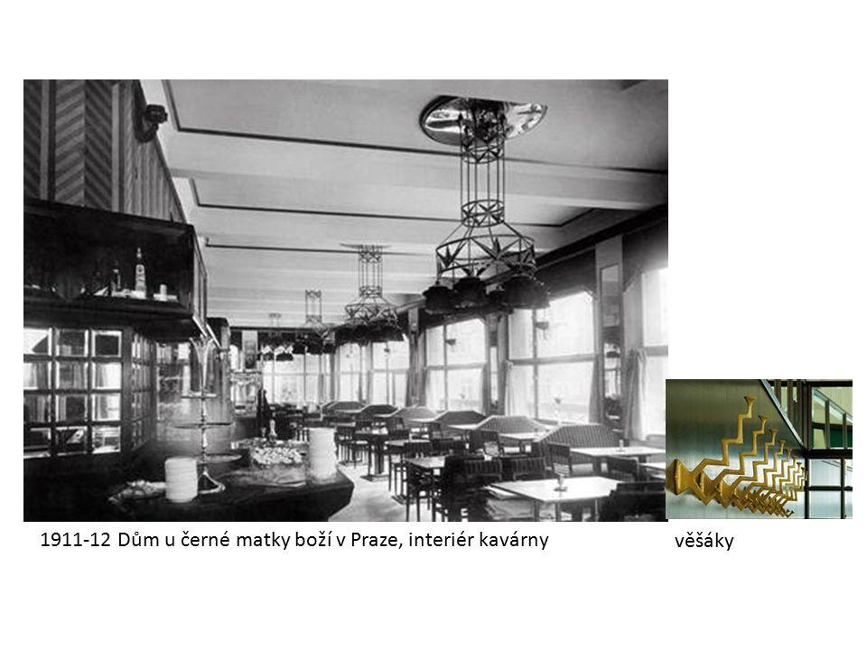 1911-12 Dům u černé matky boží v Praze, interiér kavárny věšáky