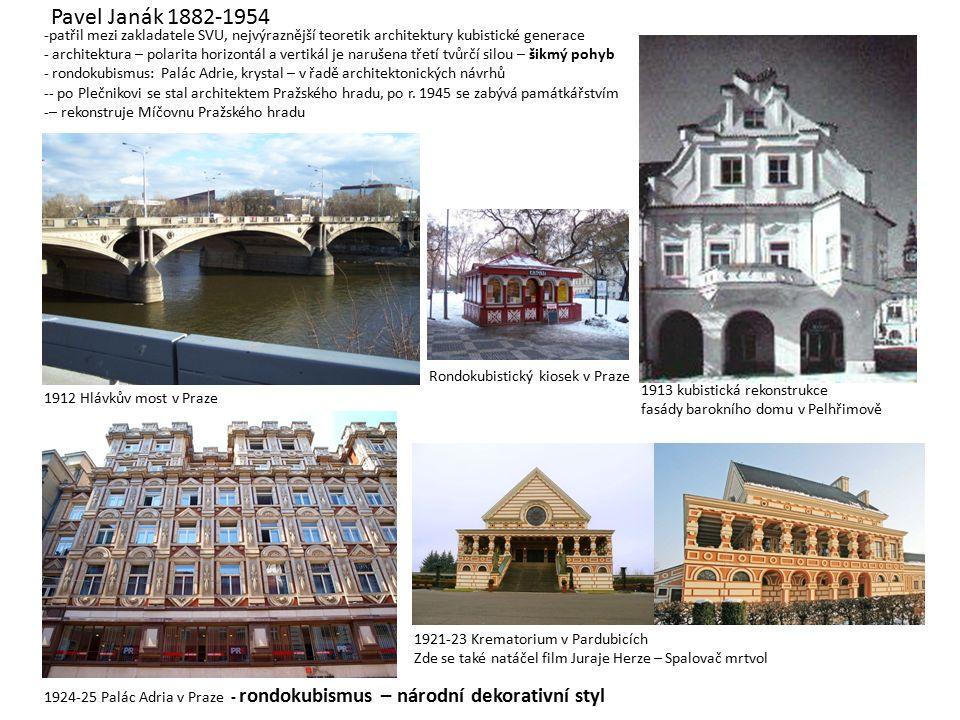 Pavel Janák 1882-1954 -patřil mezi zakladatele SVU, nejvýraznější teoretik architektury kubistické generace - architektura – polarita horizontál a vertikál je narušena třetí tvůrčí silou – šikmý pohyb - rondokubismus: Palác Adrie, krystal – v řadě architektonických návrhů -- po Plečnikovi se stal architektem Pražského hradu, po r.