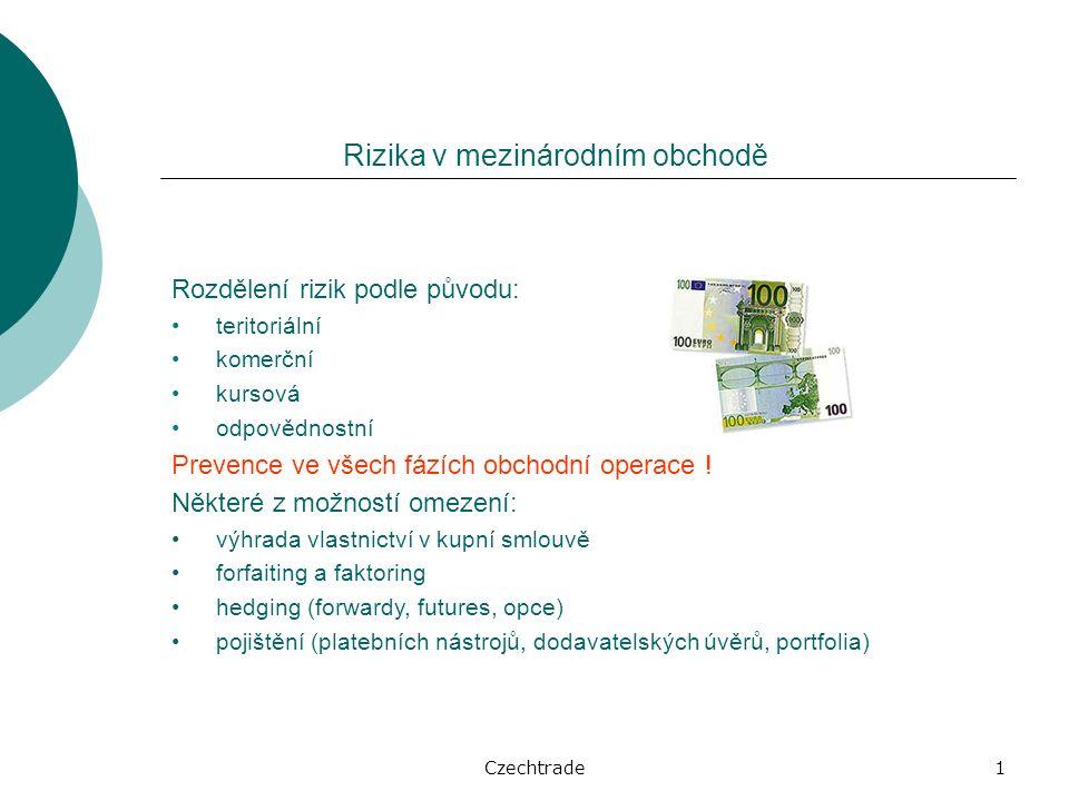 Czechtrade1 Rozdělení rizik podle původu: teritoriální komerční kursová odpovědnostní Prevence ve všech fázích obchodní operace .