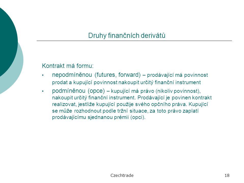 Czechtrade18 Kontrakt má formu: nepodmíněnou (futures, forward) – prodávající má povinnost prodat a kupující povinnost nakoupit určitý finanční instrument podmíněnou (opce) – kupující má právo (nikoliv povinnost), nakoupit určitý finanční instrument.