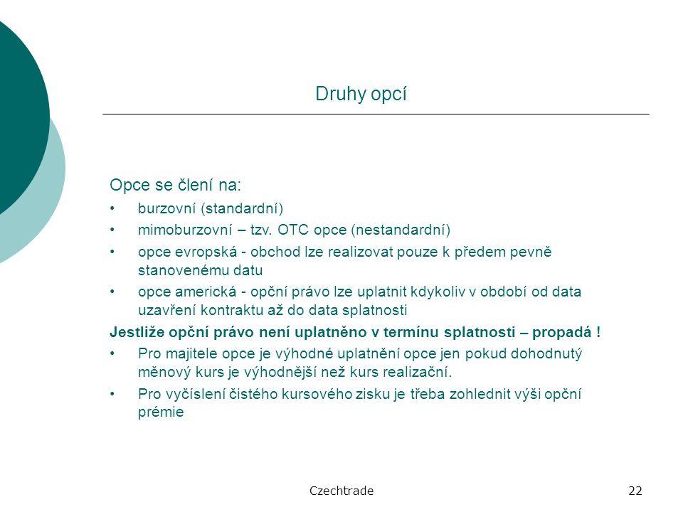 Czechtrade22 Druhy opcí Opce se člení na: burzovní (standardní) mimoburzovní – tzv.