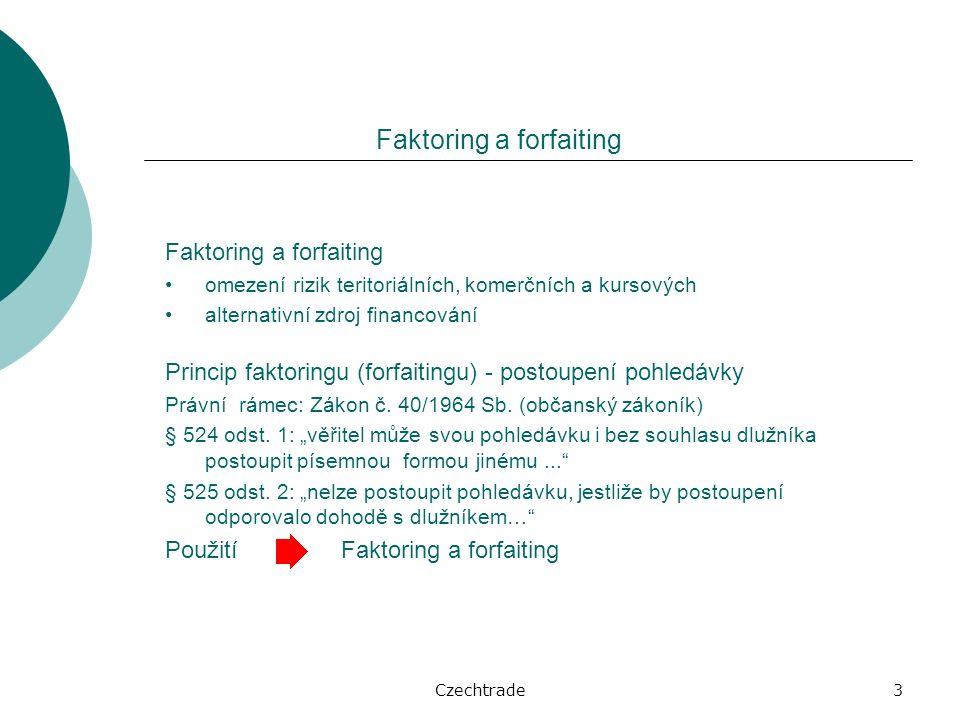 Czechtrade3 Faktoring a forfaiting omezení rizik teritoriálních, komerčních a kursových alternativní zdroj financování Princip faktoringu (forfaitingu) - postoupení pohledávky Právní rámec: Zákon č.