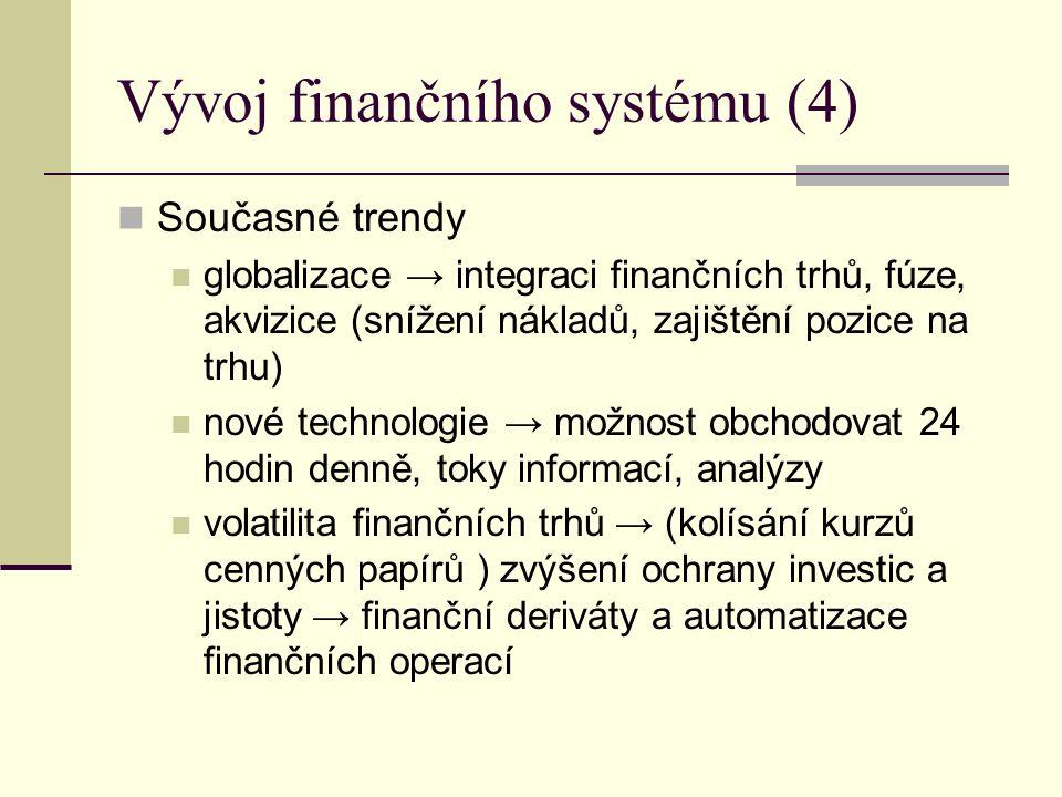 Vývoj finančního systému (4) Současné trendy globalizace → integraci finančních trhů, fúze, akvizice (snížení nákladů, zajištění pozice na trhu) nové technologie → možnost obchodovat 24 hodin denně, toky informací, analýzy volatilita finančních trhů → (kolísání kurzů cenných papírů ) zvýšení ochrany investic a jistoty → finanční deriváty a automatizace finančních operací