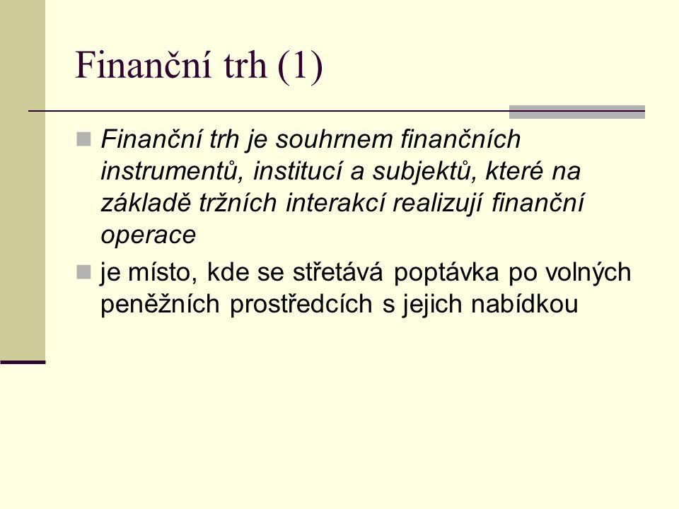 Finanční trh (1) Finanční trh je souhrnem finančních instrumentů, institucí a subjektů, které na základě tržních interakcí realizují finanční operace je místo, kde se střetává poptávka po volných peněžních prostředcích s jejich nabídkou