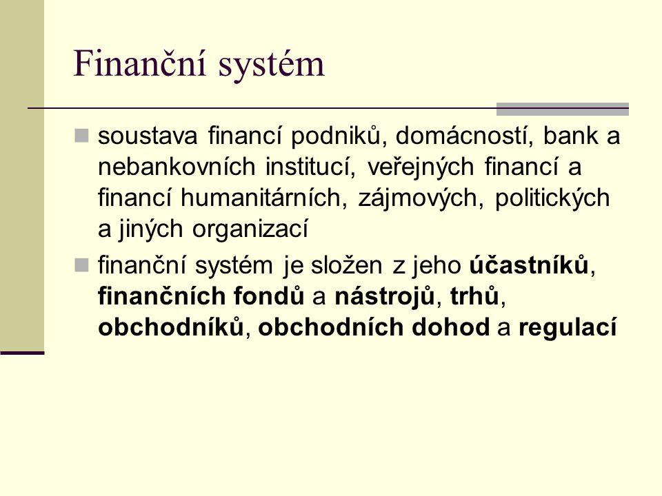 Finanční systém soustava financí podniků, domácností, bank a nebankovních institucí, veřejných financí a financí humanitárních, zájmových, politických a jiných organizací finanční systém je složen z jeho účastníků, finančních fondů a nástrojů, trhů, obchodníků, obchodních dohod a regulací