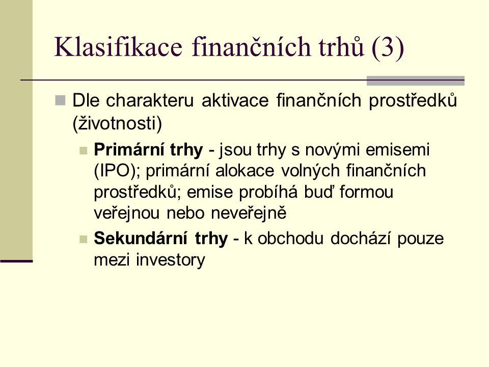 Klasifikace finančních trhů (3) Dle charakteru aktivace finančních prostředků (životnosti) Primární trhy - jsou trhy s novými emisemi (IPO); primární alokace volných finančních prostředků; emise probíhá buď formou veřejnou nebo neveřejně Sekundární trhy - k obchodu dochází pouze mezi investory