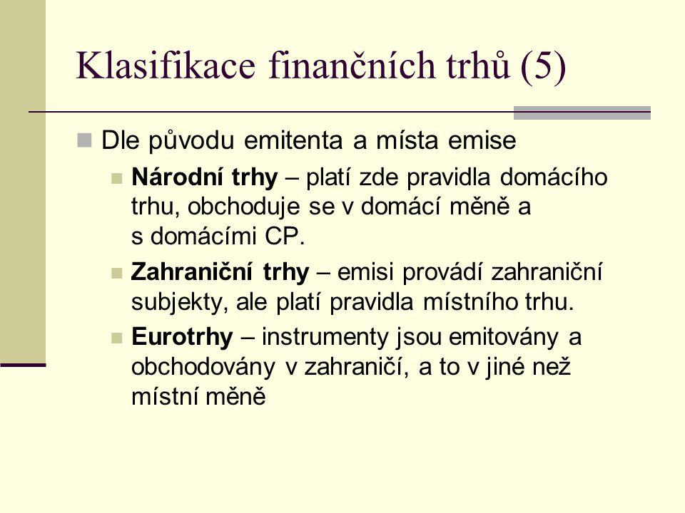 Klasifikace finančních trhů (5) Dle původu emitenta a místa emise Národní trhy – platí zde pravidla domácího trhu, obchoduje se v domácí měně a s domácími CP.