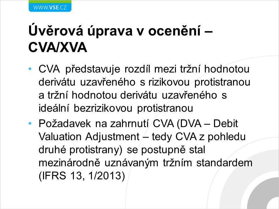 Úvěrová úprava v ocenění – CVA/XVA CVA představuje rozdíl mezi tržní hodnotou derivátu uzavřeného s rizikovou protistranou a tržní hodnotou derivátu uzavřeného s ideální bezrizikovou protistranou Požadavek na zahrnutí CVA (DVA – Debit Valuation Adjustment – tedy CVA z pohledu druhé protistrany) se postupně stal mezinárodně uznávaným tržním standardem (IFRS 13, 1/2013)