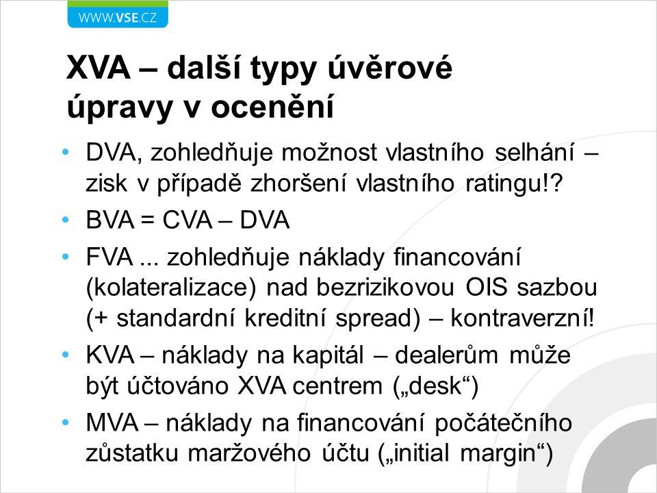 XVA – další typy úvěrové úpravy v ocenění DVA, zohledňuje možnost vlastního selhání – zisk v případě zhoršení vlastního ratingu!.