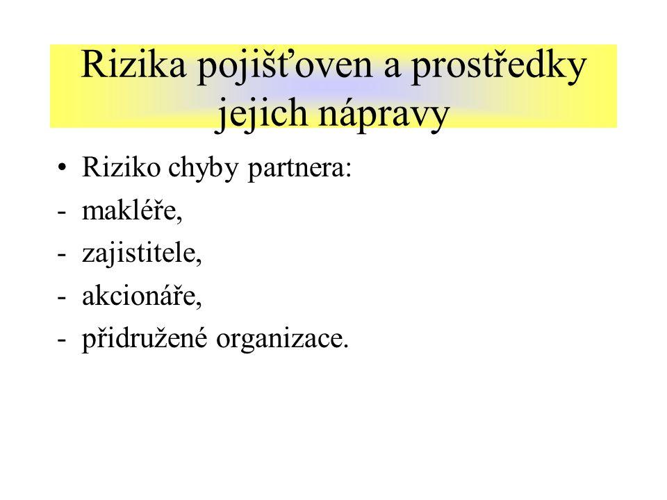 Riziko chyby partnera: -makléře, -zajistitele, -akcionáře, -přidružené organizace.