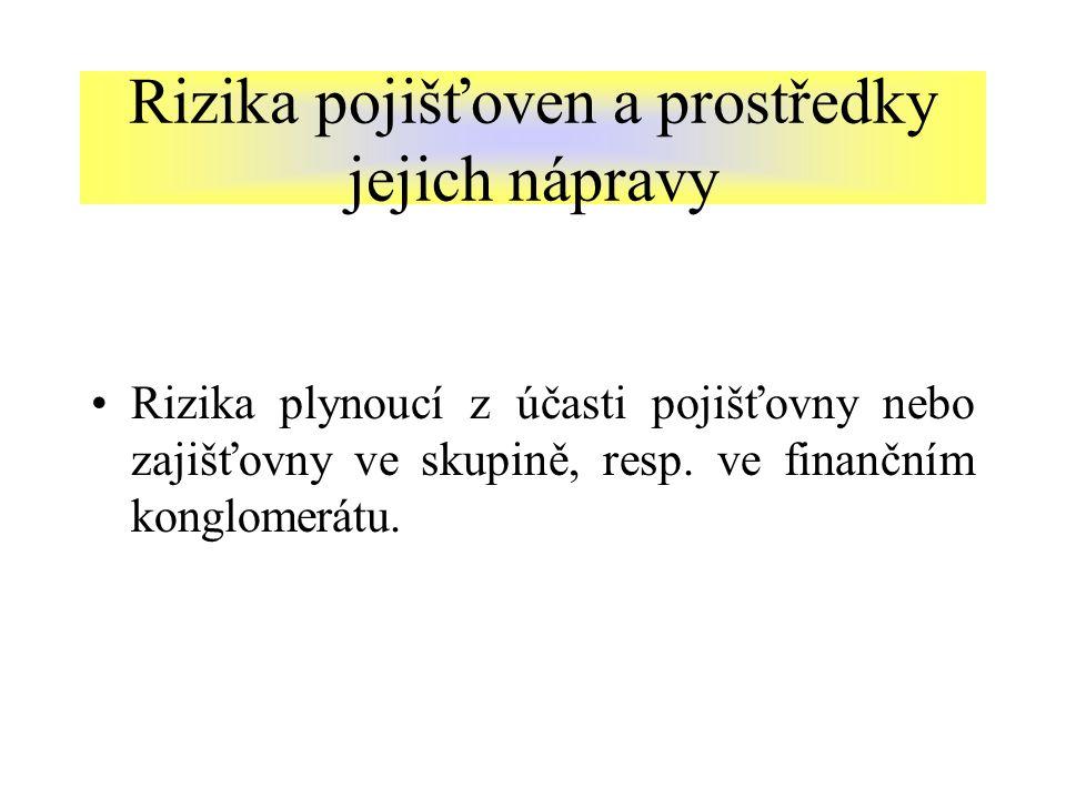 Rizika plynoucí z účasti pojišťovny nebo zajišťovny ve skupině, resp.