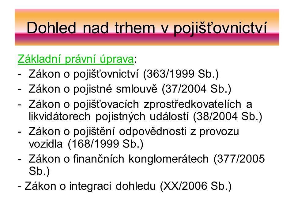 Dohled nad trhem v pojišťovnictví Základní právní úprava: -Zákon o pojišťovnictví (363/1999 Sb.) -Zákon o pojistné smlouvě (37/2004 Sb.) -Zákon o pojišťovacích zprostředkovatelích a likvidátorech pojistných událostí (38/2004 Sb.) -Zákon o pojištění odpovědnosti z provozu vozidla (168/1999 Sb.) -Zákon o finančních konglomerátech (377/2005 Sb.) - Zákon o integraci dohledu (XX/2006 Sb.)