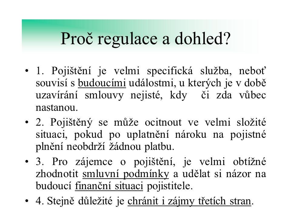 Proč regulace a dohled? 1. Pojištění je velmi specifická služba, neboť souvisí s budoucími událostmi, u kterých je v době uzavírání smlouvy nejisté, k