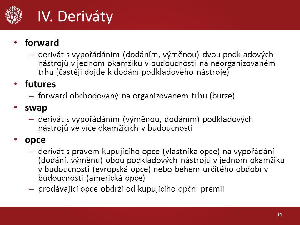 IV. Deriváty 11 forward – derivát s vypořádáním (dodáním, výměnou) dvou podkladových nástrojů v jednom okamžiku v budoucnosti na neorganizovaném trhu