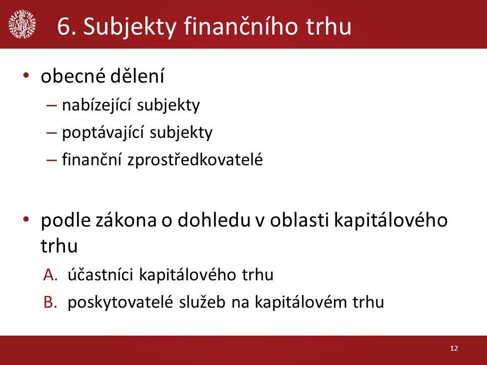 6. Subjekty finančního trhu obecné dělení – nabízející subjekty – poptávající subjekty – finanční zprostředkovatelé podle zákona o dohledu v oblasti k