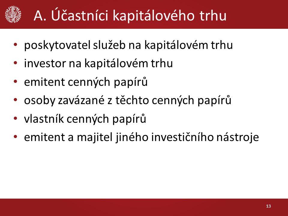 A. Účastníci kapitálového trhu poskytovatel služeb na kapitálovém trhu investor na kapitálovém trhu emitent cenných papírů osoby zavázané z těchto cen
