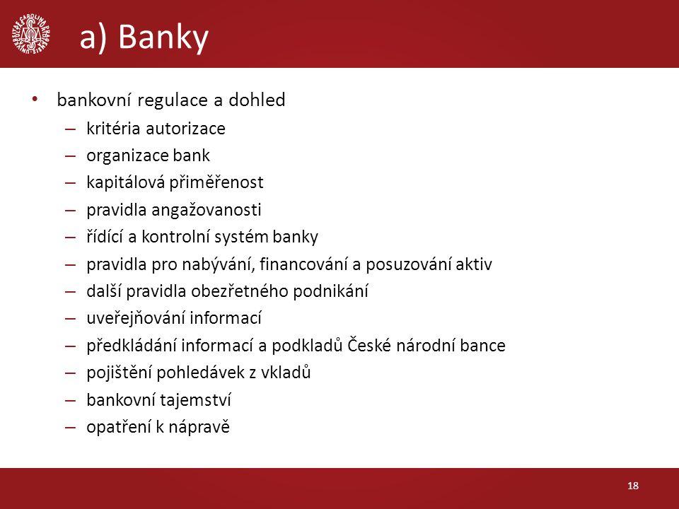 a) Banky bankovní regulace a dohled – kritéria autorizace – organizace bank – kapitálová přiměřenost – pravidla angažovanosti – řídící a kontrolní sys