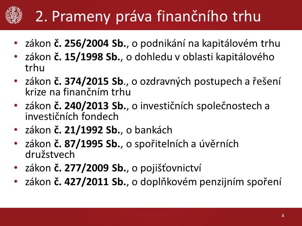 2. Prameny práva finančního trhu zákon č. 256/2004 Sb., o podnikání na kapitálovém trhu zákon č. 15/1998 Sb., o dohledu v oblasti kapitálového trhu zá
