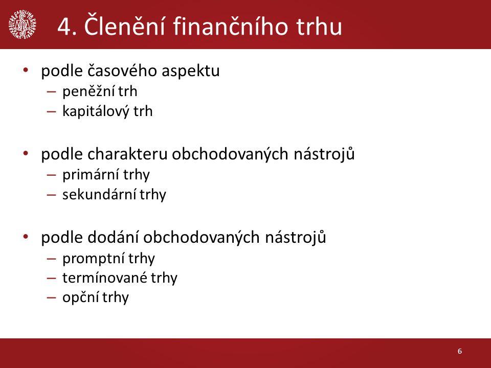 4. Členění finančního trhu podle časového aspektu – peněžní trh – kapitálový trh podle charakteru obchodovaných nástrojů – primární trhy – sekundární