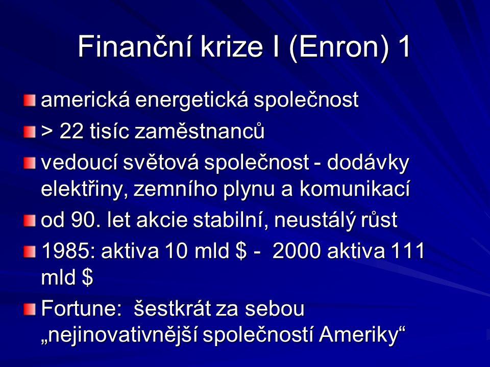 Finanční krize I (Enron) 1 americká energetická společnost > 22 tisíc zaměstnanců vedoucí světová společnost - dodávky elektřiny, zemního plynu a komunikací od 90.