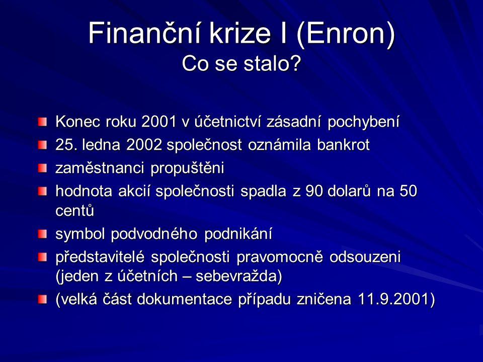 Finanční krize I (Enron) Co se stalo. Konec roku 2001 v účetnictví zásadní pochybení 25.