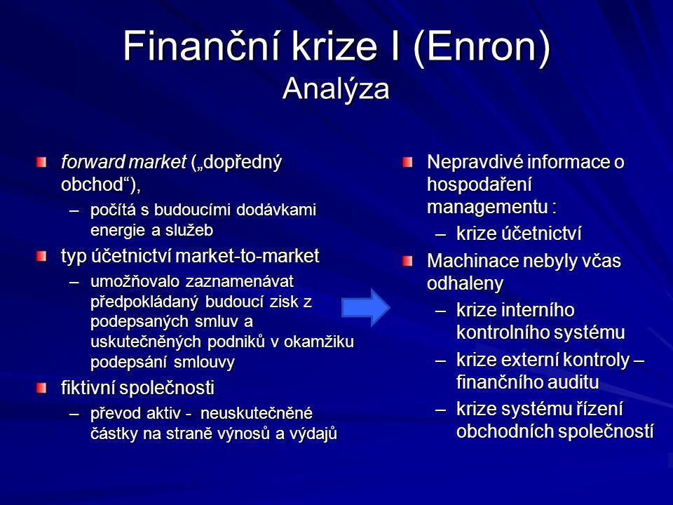 """Finanční krize I (Enron) Analýza forward market (""""dopředný obchod ), –počítá s budoucími dodávkami energie a služeb typ účetnictví market-to-market –umožňovalo zaznamenávat předpokládaný budoucí zisk z podepsaných smluv a uskutečněných podniků v okamžiku podepsání smlouvy fiktivní společnosti –převod aktiv - neuskutečněné částky na straně výnosů a výdajů Nepravdivé informace o hospodaření managementu : –krize účetnictví Machinace nebyly včas odhaleny –krize interního kontrolního systému –krize externí kontroly – finančního auditu –krize systému řízení obchodních společností"""