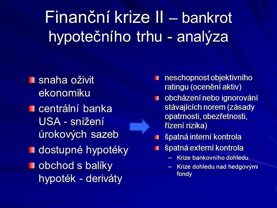 Finanční krize II – bankrot hypotečního trhu - analýza snaha oživit ekonomiku centrální banka USA - snížení úrokových sazeb dostupné hypotéky obchod s balíky hypoték - deriváty neschopnost objektivního ratingu (ocenění aktiv) obcházení nebo ignorování stávajících norem (zásady opatrnosti, obezřetnosti, řízení rizika) špatná interní kontrola špatná externí kontrola –Krize bankovního dohledu –Krize dohledu nad hedgovými fondy