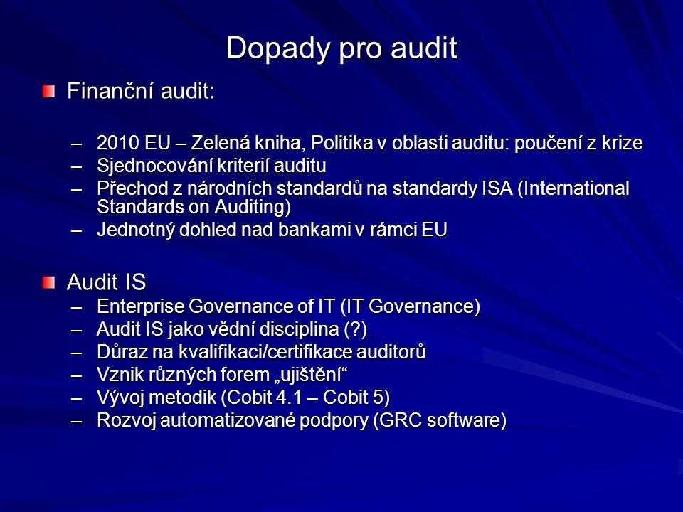 """Dopady pro audit Finanční audit: –2010 EU – Zelená kniha, Politika v oblasti auditu: poučení z krize –Sjednocování kriterií auditu –Přechod z národních standardů na standardy ISA (International Standards on Auditing) –Jednotný dohled nad bankami v rámci EU Audit IS –Enterprise Governance of IT (IT Governance) –Audit IS jako vědní disciplina ( ) –Důraz na kvalifikaci/certifikace auditorů –Vznik různých forem """"ujištění –Vývoj metodik (Cobit 4.1 – Cobit 5) –Rozvoj automatizované podpory (GRC software)"""